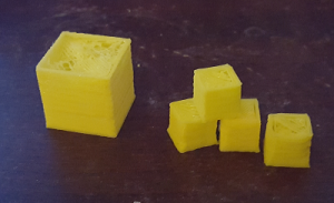 cubes printed while calibrating my printer